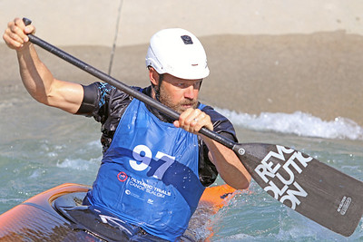 Tren Long competes in the USA Canoe/Kayak Slalom Olympic Trials Day 3 at U.S. National Whitewater Center -- Wednesday, April 14, 2021