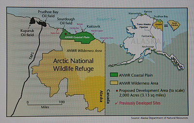 The 19 million acre Arctic National Wildlife Refuge is located at the Northeast corner of Alaska. Travel is by air and river. The only road anywhere close is the Prudhoe Bay pipeline road from Fairbanks to Prudhoe Bay located west of the refuge.