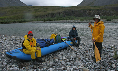 Our fiirst paddling day. Craig gives a paddling lesson to Robert and Jeff who have not paddled moving water previously.