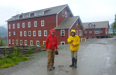 Pete and Carl at Kennicott Mine tour in the rain