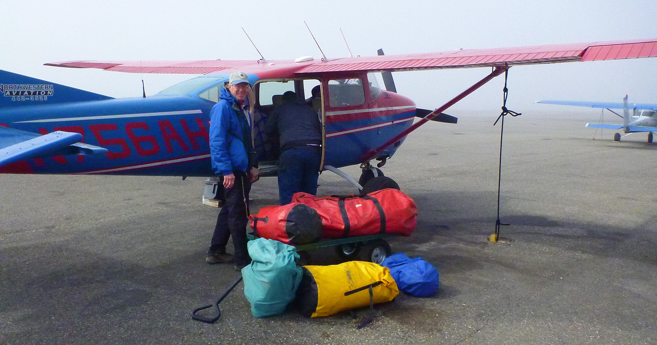 After flying commercial air to Kotzebue, we fly to the headwaters of the Colville River with bush pilot Jim Kincaid. It takes 2 flights to transport 4 of us, two inflatable SOAR canoes, 55 pounds of food each, and all our camping gear. Total weight, including us, is 1300 pounds.