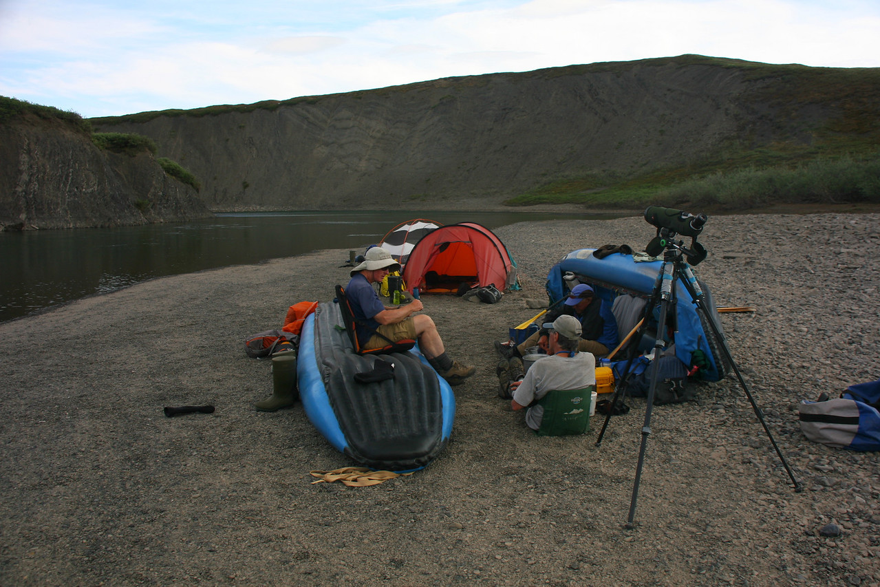 Camp 7 - Cliff Camp - The spotting scope is pointing at a Peregrine Falcon nest