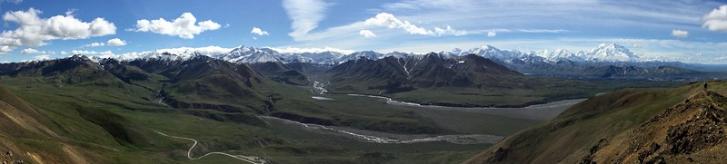 Hiked up 1000 ft to the ridgeline for this panorama.  Eielson Visitor Center is at the bottom, built into the hillside, & is extremely energy efficient.  Denali is at right.
