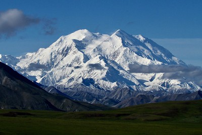 Denali is highest mountain in North America, & one of tallest in world because base elevation is less than 3000 ft.  Only about 30% of visitors to park get to actually see the mountain.