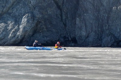 Rich & me paddling hard to avoid a small hole in the water created by that rock. This was right before our camp.