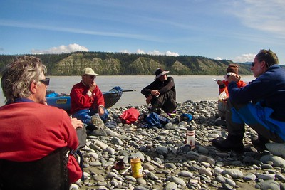 Nice lunch stop on the Chitina.  It was a really fun group.  Also shows here that the Chitina is a big river in it's own right.