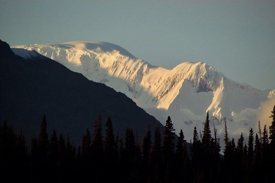 Excellent evening weather provided outstanding views of surrounding mountains.  (I think this is Mt Wrangell.)