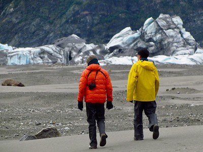 Brian, Carl, and more big icebergs that calved off from Miles Glacier.