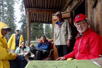 We were able to actually finish the river with all the people who started, seen here on porch of his one-room cabin at Jake's Bar.