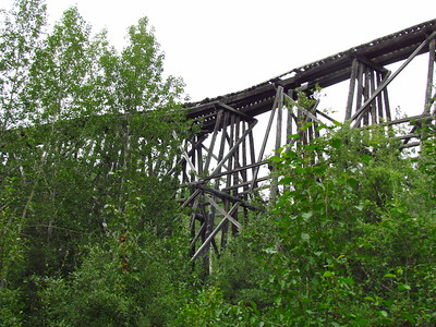Along the way we'd seen remains of this railroad, built in 1910 to the Kennecott Copper Mine near McCarthy.