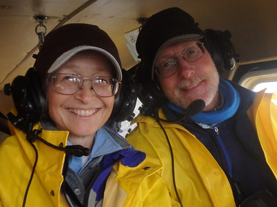 Judi & Carl can even look cute when crammed into the back seat of a bush plane that was built well before they were born.