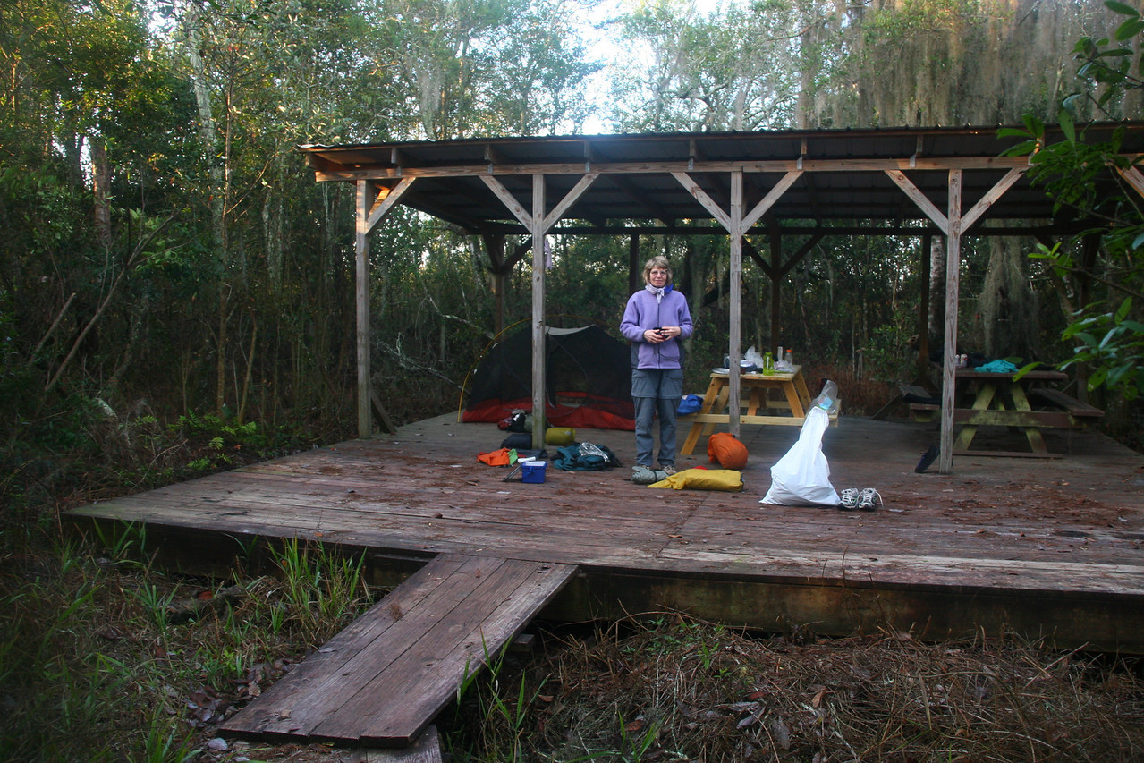 This is the Chickee. Lots of room with a roof and 2 picnic tables. They told us that gators would never crawl up on the platform if people were occupying it.