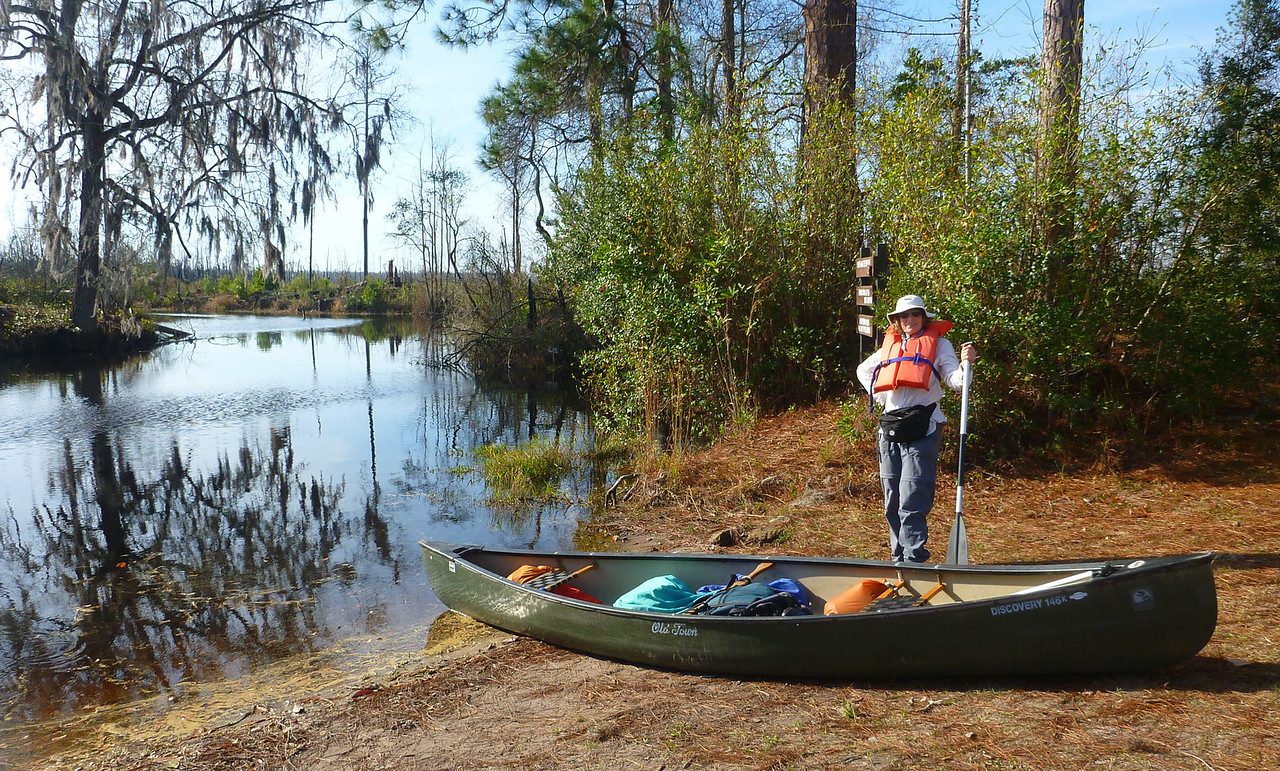 The next morning, we are ready to launch from the Suwannee Canal Recreation Area, one of 3 places that you can enter the swamp. We will paddle to Monkey Lake, spend one night, and then retrace our path back out.