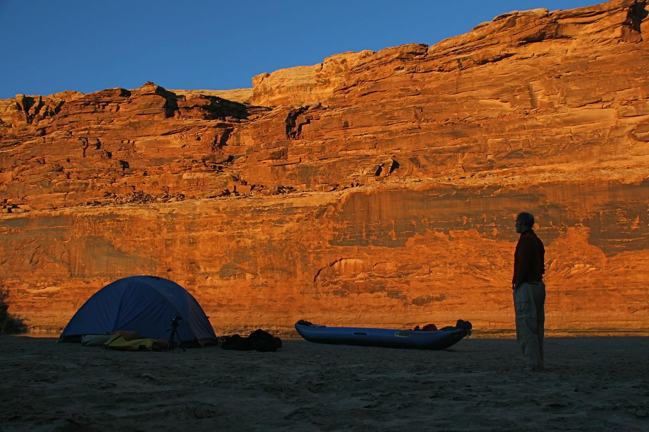 Camp 3 at sunset on a sandbar