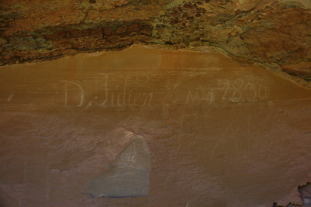 One of the earliest travelers down the river, other than the native Americans, was D Juilen who carved this inscription in 1836. It took some effort to find it (Mile 74)
