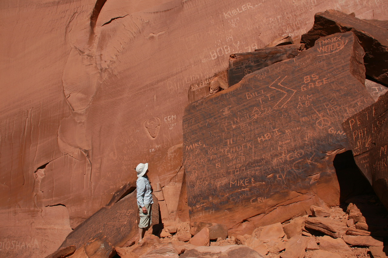 Through the years, many river runners carved their names into the rock at the River Register at Mile 78. It is graffiti if you do this now, but if it is more then 50 years ago, it is considered a historic landmark.