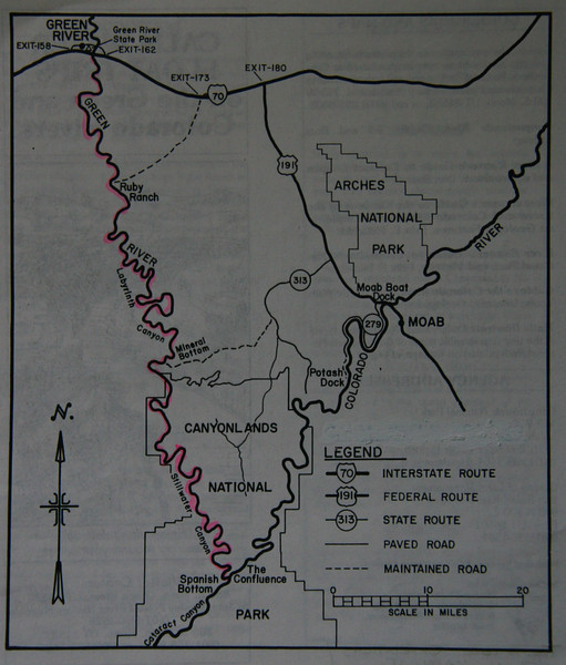 The map shows the 120-mile, 10-day paddle in red. The jet boat ride from the confluence back to Potash (near Moab) takes about 2 hours. We used the Belknap River Map which marks the miles from Green River (Mile 120) to the confluence (Mile 0).