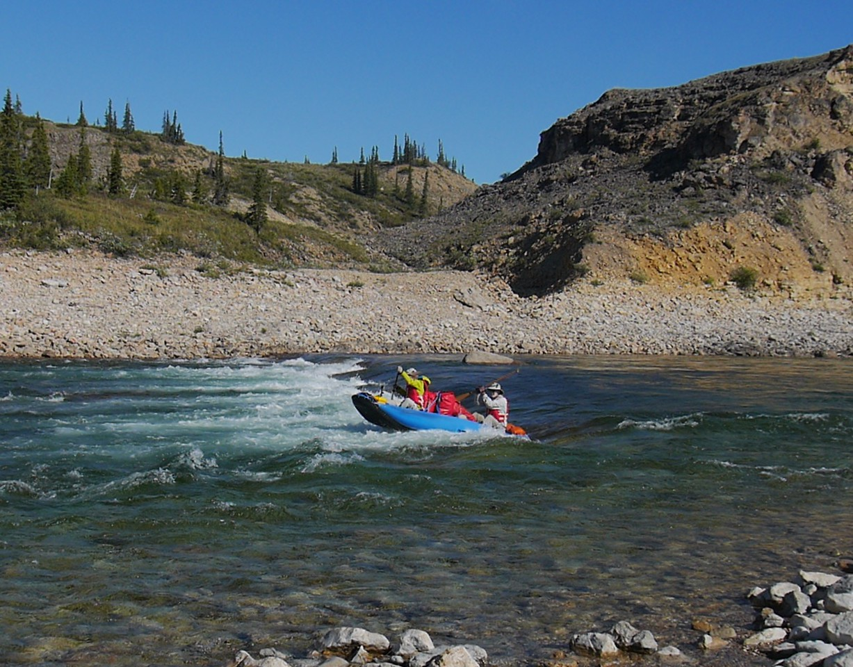 Day 12 - About half way through the trip, we encounter the canyons with rapids . The low water in August makes the rapids easier to run. However some of the rapids were ledge drops which are difficult in any water conditions.