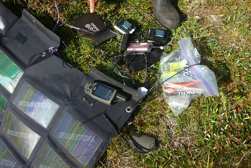 Day 5 - Lots of electronics. We had  iPhones, GPS's, and many cameras. Solar panel worried well.