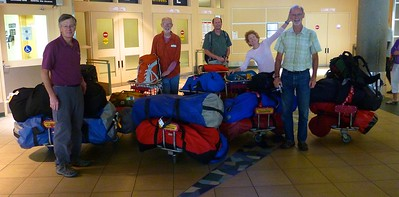 The gear  we took from home  weighed about 1050 pounds. This included three inflatable Soar canoes, paddles, camping equipment, and food.