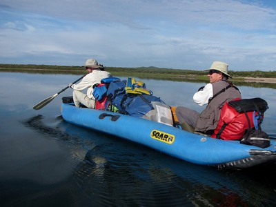 Steve & Brian led as we paddled off.  We did not have fast canoes, & only modest current to help.