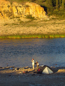 Camps could be really pretty, especially in late evening sunlight. Brian's checking out nest of rough legged hawk.