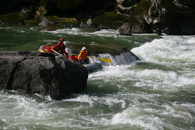 Salmon Falls is the first big rapid. Here Craig and Rena go over the big drop.