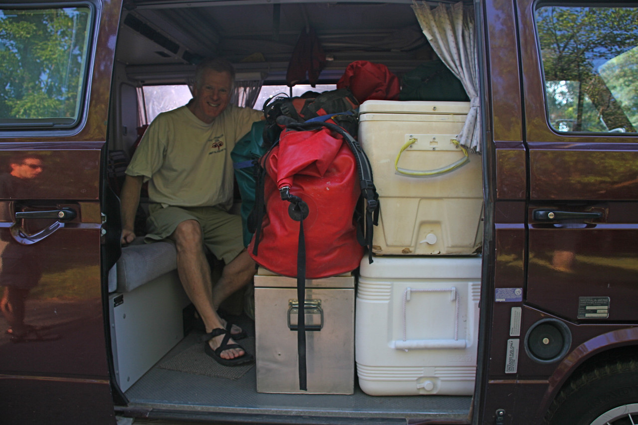 The van is full after loading at Carl and Judi's Boise home. I drove to the put-in with 4 people, 2 rafts, a kayak, and lots of other gear.