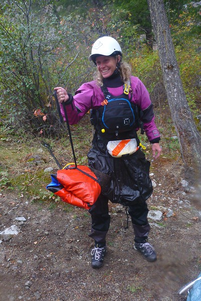 On Day 6, we reached a side stream called Big Creek. Most of the packrafters folded up their boats and hiked upstream for 4 miles. They then inflated the boats and descended the Class 3-4  tributary. Here Jeny shows the small 8 pound package she will carry in her pack.