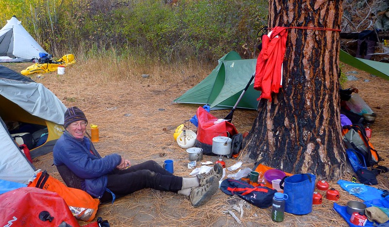 It drizzled at Wilson Creek Camp, Mile 72.5. The big tree stopped some of the moisture.