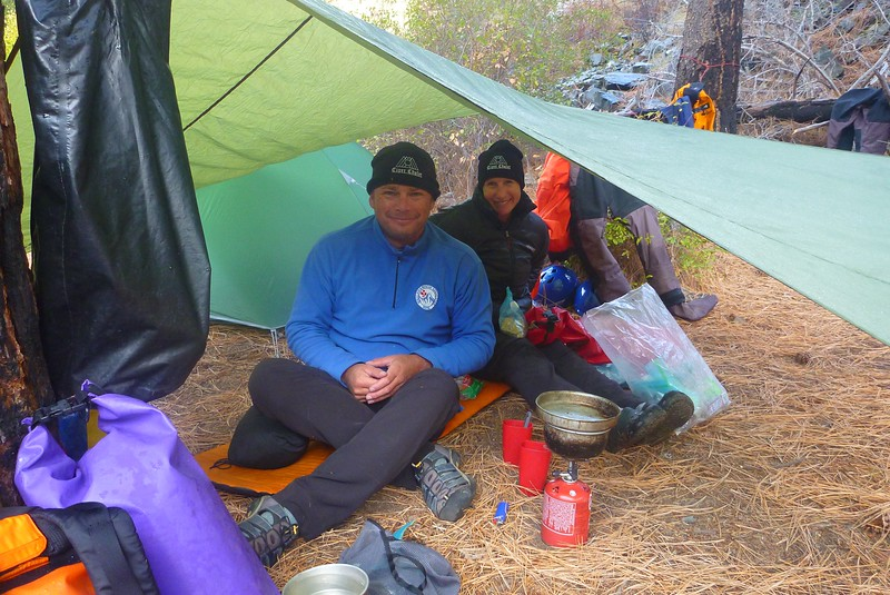 Wilson Creek Camp, Mile 72.5. Edi+ Deb had a great tarp.