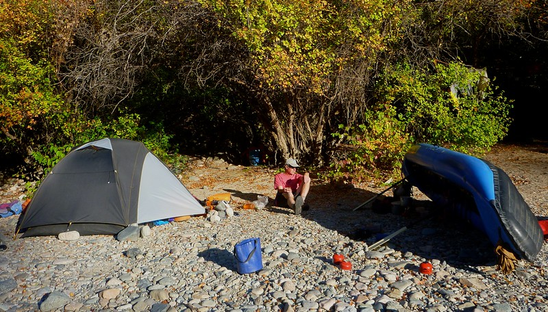 Camp 4 was at  Big Loon Creek, Mile 50.1. Brian and I use the SOAR as a windbreak to cook.