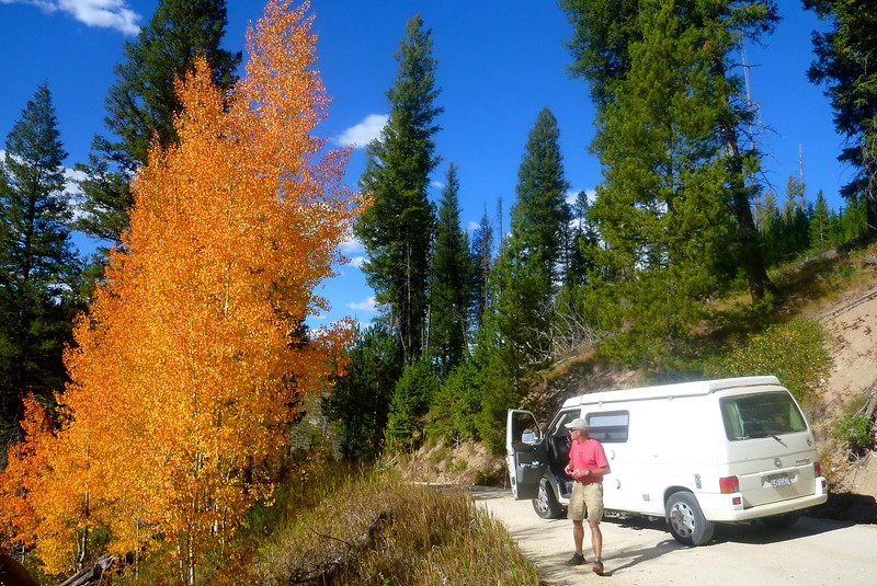 Brian and I drove to Idaho in my van.  We saw fall colors as we neared  Boundary Creek.