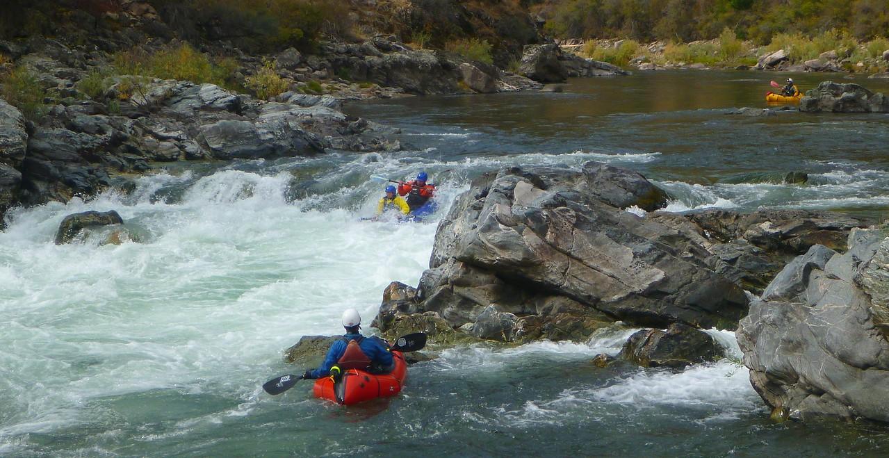Tappan Falls - Edi + Deb in the inflatable kayak.