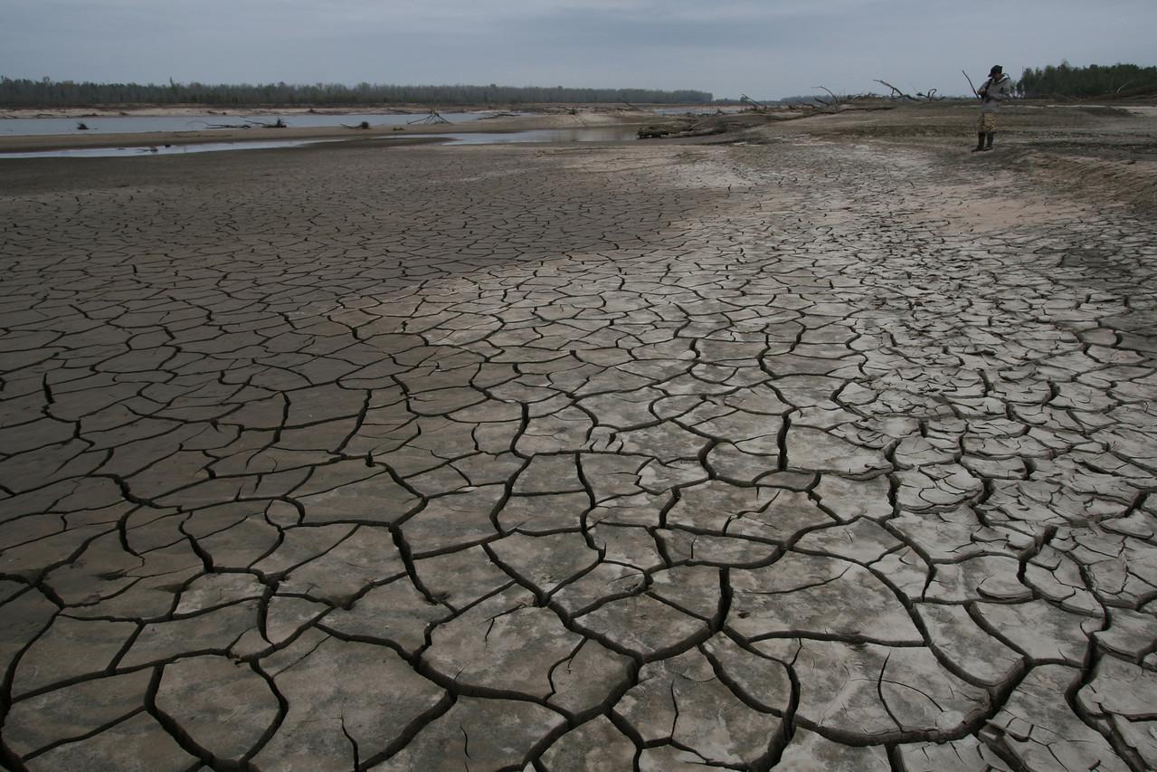 Dried mud near Arkansas River confluence