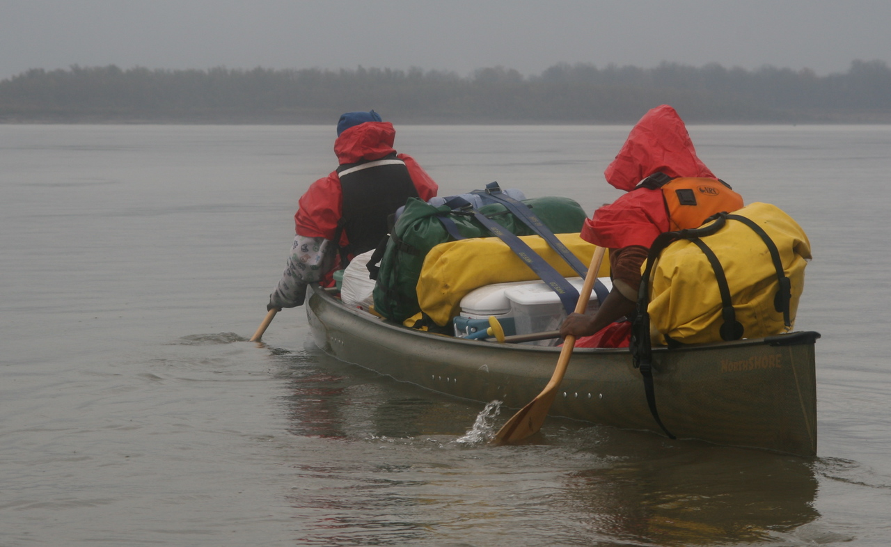 supplies were carried in traditional canoes