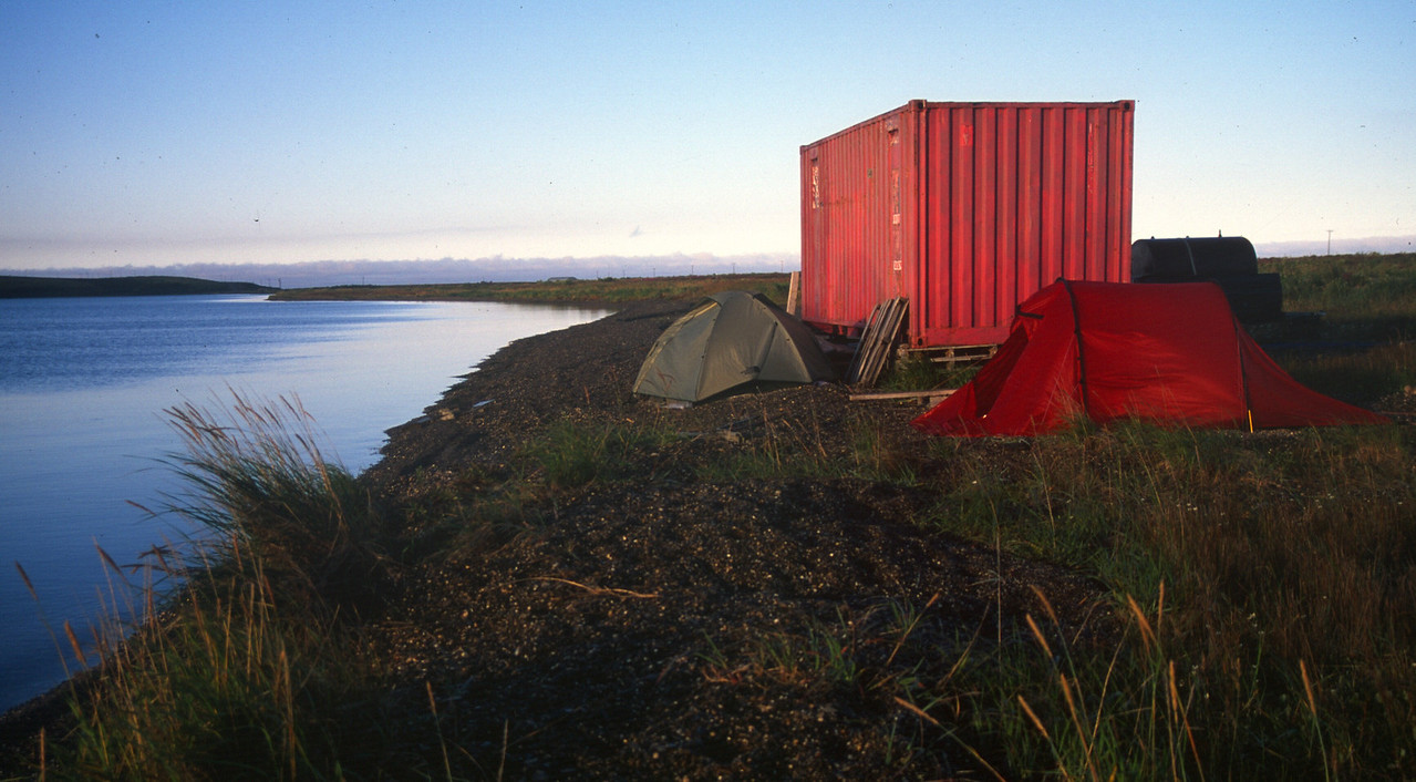 Camping by Buck Matson's storage container in Kotzebue