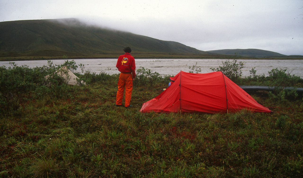Camp is moved to a higher area. Note volume of water now. The cook tent to the left was very useful