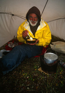 John enjoying the cook tent.