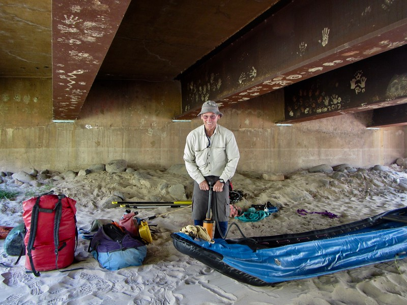 We blew up the boat and packed it under the bridge where the Escalante crosses under Hwy 12.