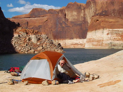 "> 200 lbs of rocks held down tent at camp on Lake Powell.  Water's ~100 ft below ""full pool""."