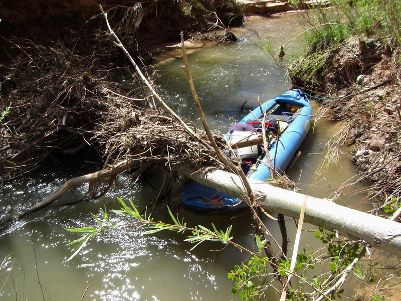 """Used long bow & stern lines to """"line"""" around this, because most of water went under it."""