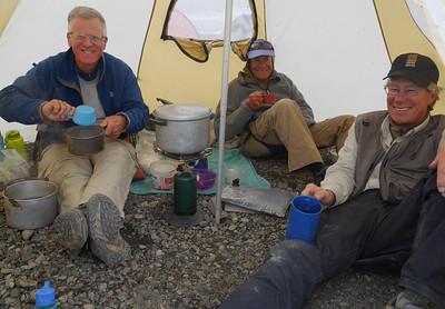 Camp 11 - Kokolik - Big Gravel Bar Camp - Happy eaters.