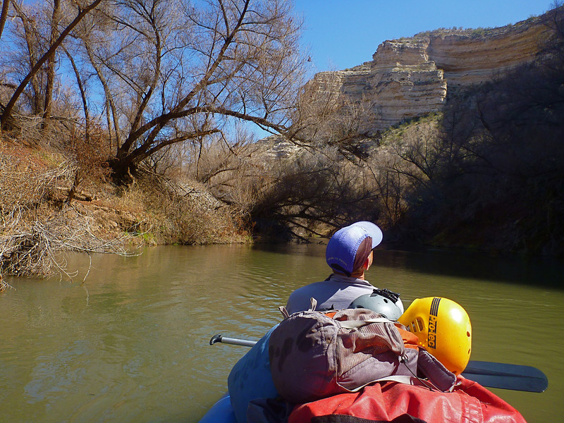 For the final 8 miles, the Verde is a meandering stream that has cut into the dry Horseshoe Reservoir.