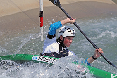 Kaelin Friedenson does slalom training at the U.S. National Whitewater Center in Charlotte, N.C., on July 14, 2020
