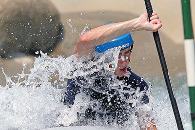 Wesley Bolyard does slalom training at the U.S. National Whitewater Center in Charlotte, N.C., on July 14, 2020