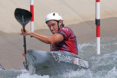 Tyler Westfall does slalom training at the U.S. National Whitewater Center in Charlotte, N.C., on July 14, 2020