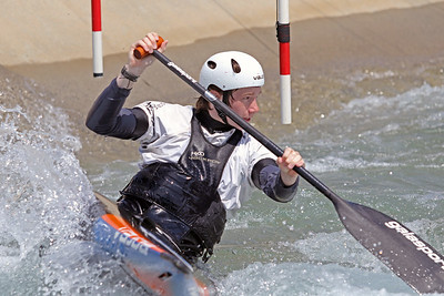 Nathaniel Francis does slalom training at the U.S. National Whitewater Center in Charlotte, N.C., on July 14, 2020