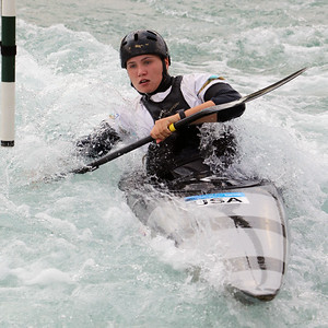 Maddie Corcoran slalom training at the U.S. National Whitewater Center in Charlotte, N.C., on July 15, 2020