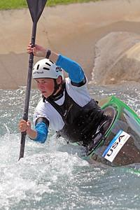 Kaelin Friedenson slalom training at the U.S. National Whitewater Center in Charlotte, N.C., on July 15, 2020